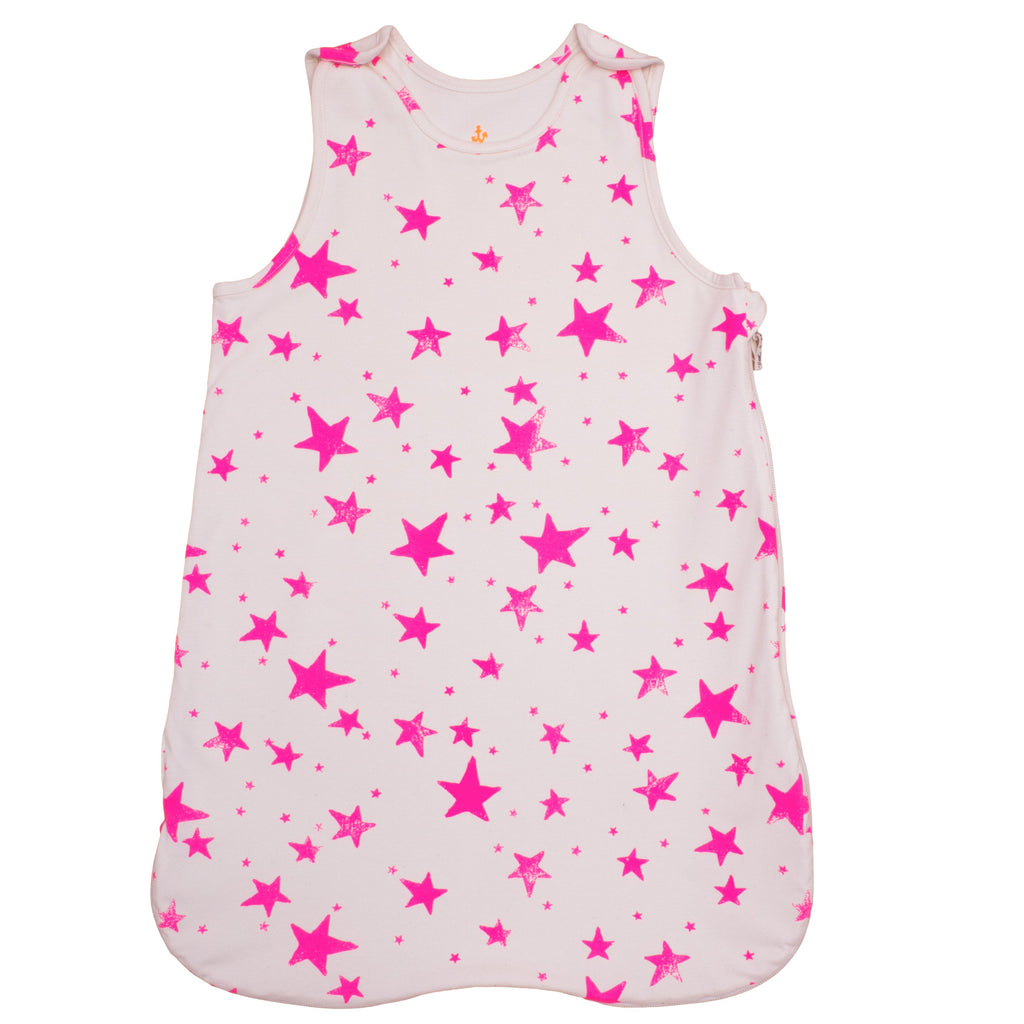 NOE&ZOE ORGANIC BABY SLEEPING BAG IN PINK STARS