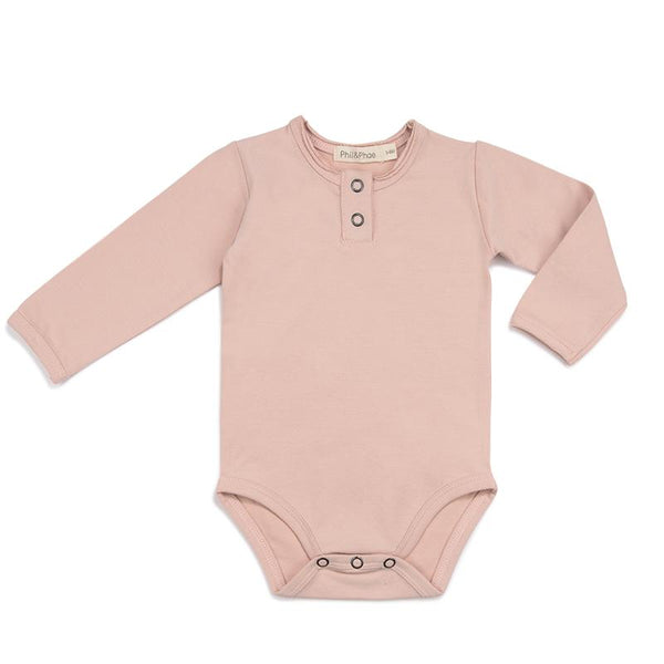 PHIL&PHAE ORGANIC BABY ONESIE MICK IN BLUSH | Sugarloaf