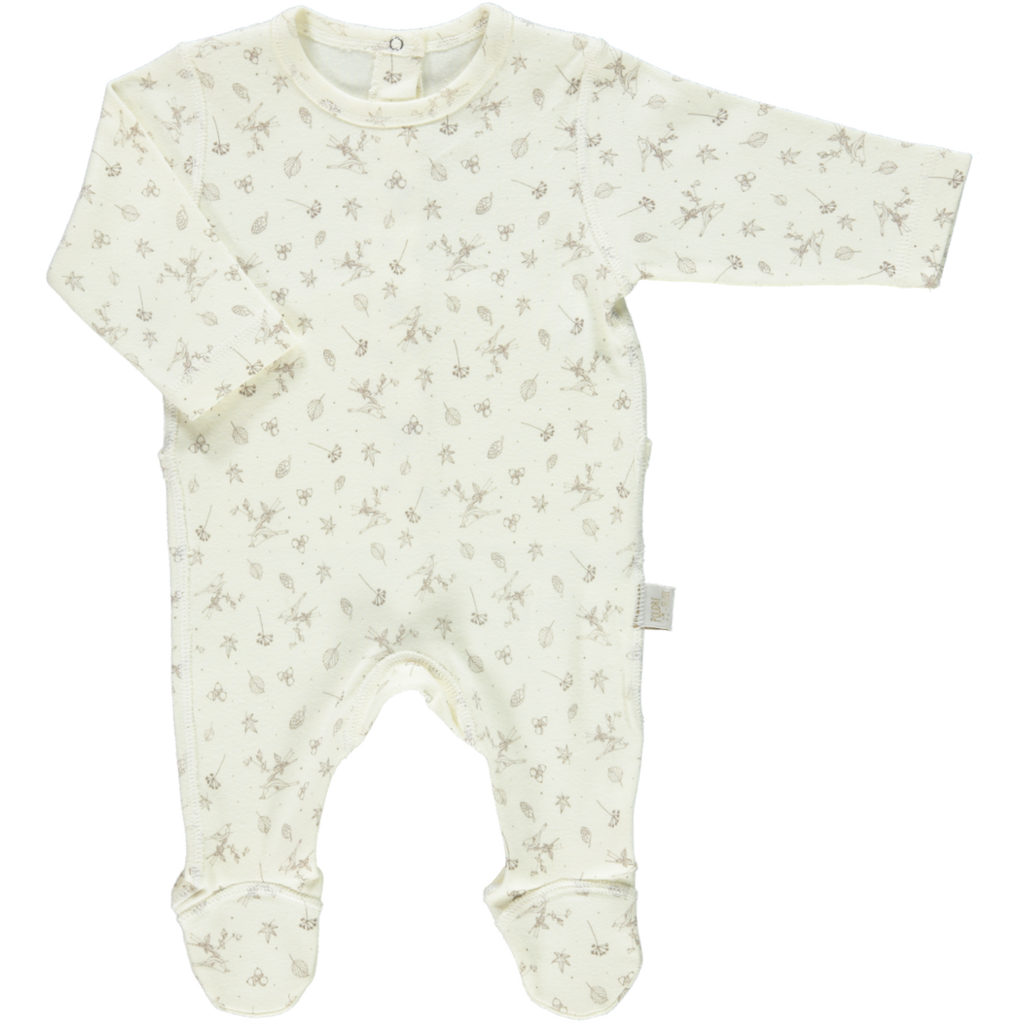 Poudre Organic Organic Baby Romper with feet in Milk - sugarloaf