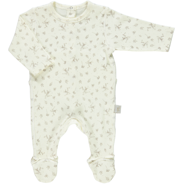 Organic Baby Romper with feet in Milk - sugarloaf