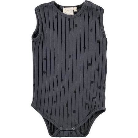 Mini Sibling by Beau Loves MINI SIBLING CHARCOAL CONFETTI RIBBED BABY ONESIE WITH CONFETTI