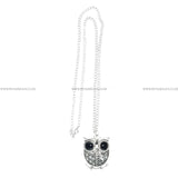 Big Eyes Owl Pendant Long Chain Silver