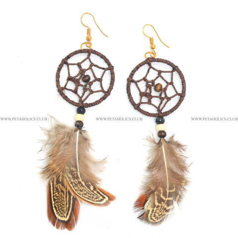 Dream Catcher Earring With Tassel Synthetic Feathers Brown