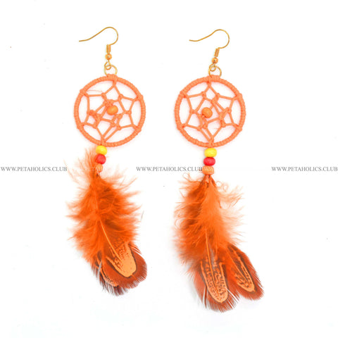 Dream Catcher Earring With Tassel Synthetic Feathers Orange
