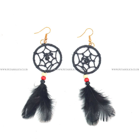Dream Catcher Earring With Tassel Synthetic Feathers Black
