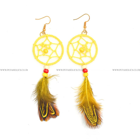 Dream Catcher Earring With Tassel Synthetic Feathers Yellow
