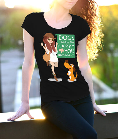 Dogs makes me happy Female Black T-Shirt