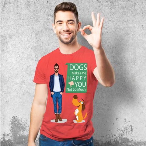 Dogs makes me happy Male Red T-Shirt