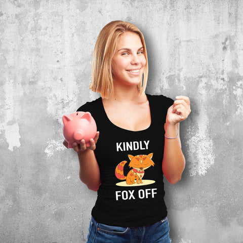 Kindly Fox Off Female Black T-Shirt