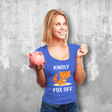 Kindly Fox Off Female Blue T-Shirt