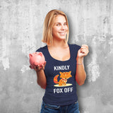 Kindly Fox Off Female Navy T-Shirt