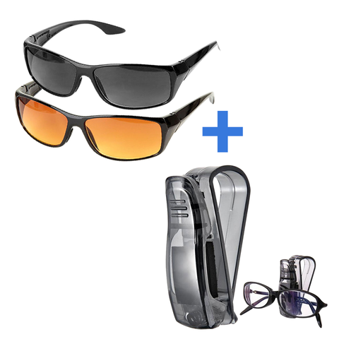 Driving Glasses - Full Set – 2 Pairs (Day & Night) + Glasses Holder Clip