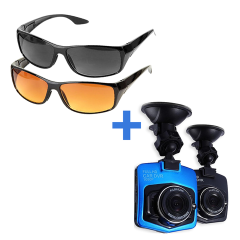 Driving Glasses - Full Set – 2 Pairs (Day & Night) + Full HD 1080P Auto DVR Dashcam