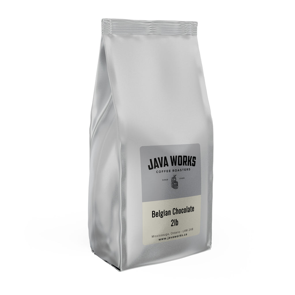 A 12oz bag of Java Works Belgian Chocolate flavoured coffee