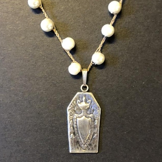 Debbie Davis Crest Pendant in 999 Silver with Pearl Necklace