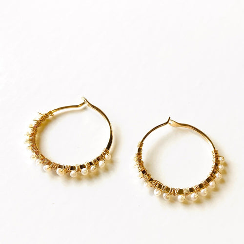 Dear Jane Tiny Fresh Water Pearl Hoop Earrings, 14K Gold Filled