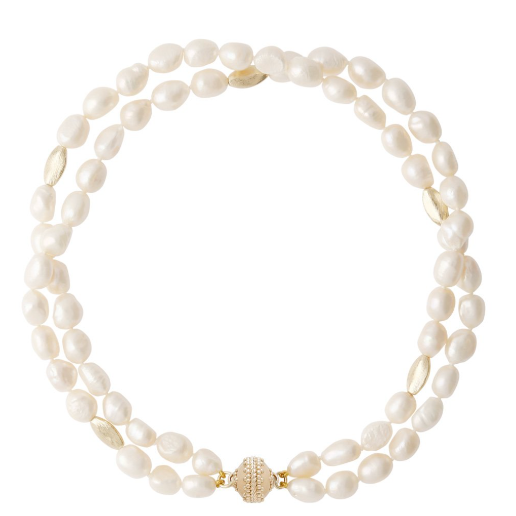 Gold Rush White Pearl 2-Strand Necklace N3664