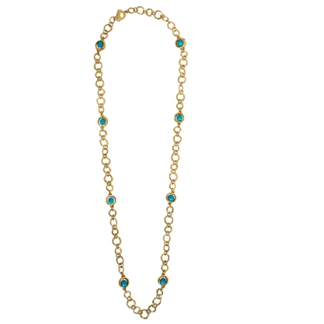 Karine Sultan Natural Turquoise & Gold Link Necklace