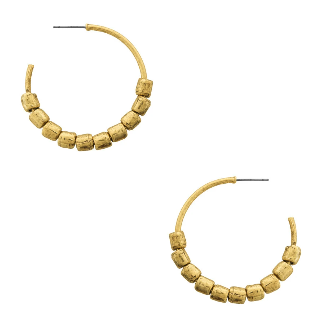 Karine Sultan Gold Hammered Large Hoop Earrings