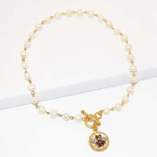 Karine Sultan Delicate Pearl Strand Bee Medallion Necklace