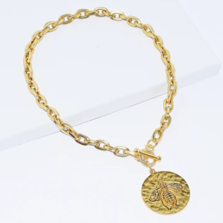 Karine Sultan Gold Bee Medallion Pendant Necklace