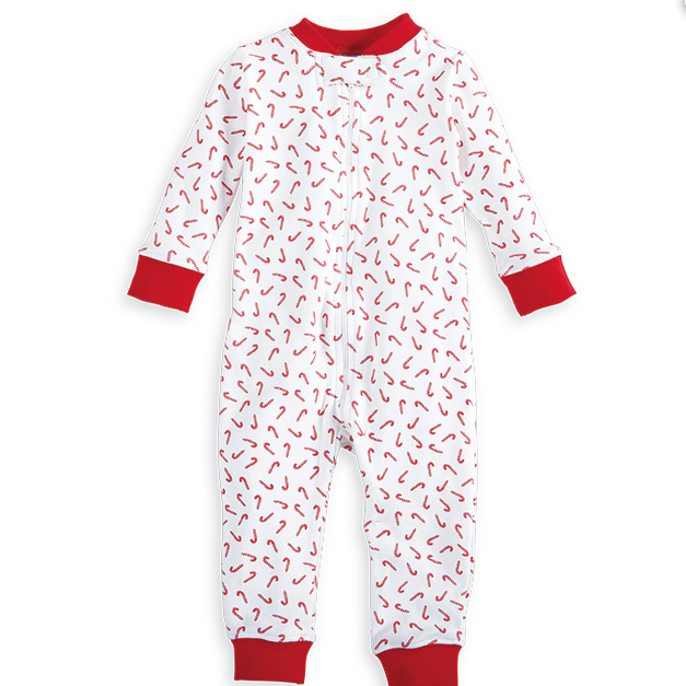 Printed Zip Front Onesie, Candy Canes