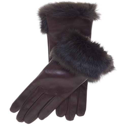 Fur Cuffed Leather Gloves