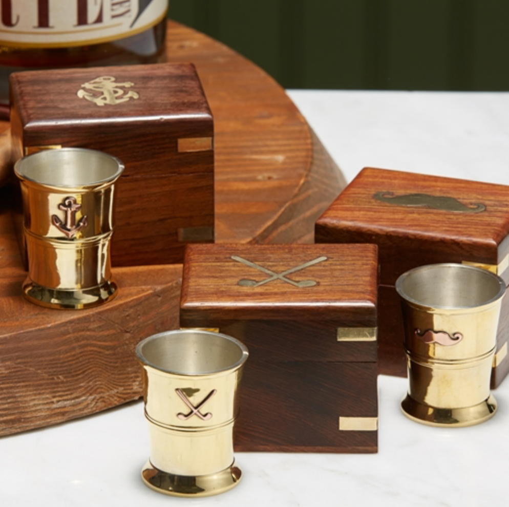 Shot Glass in Wooden Keepsake Box
