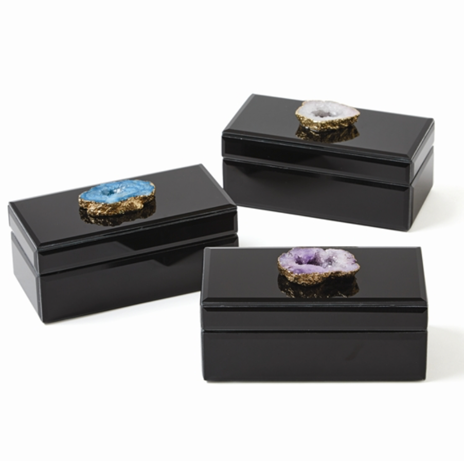Geode Lined Black Glass Box