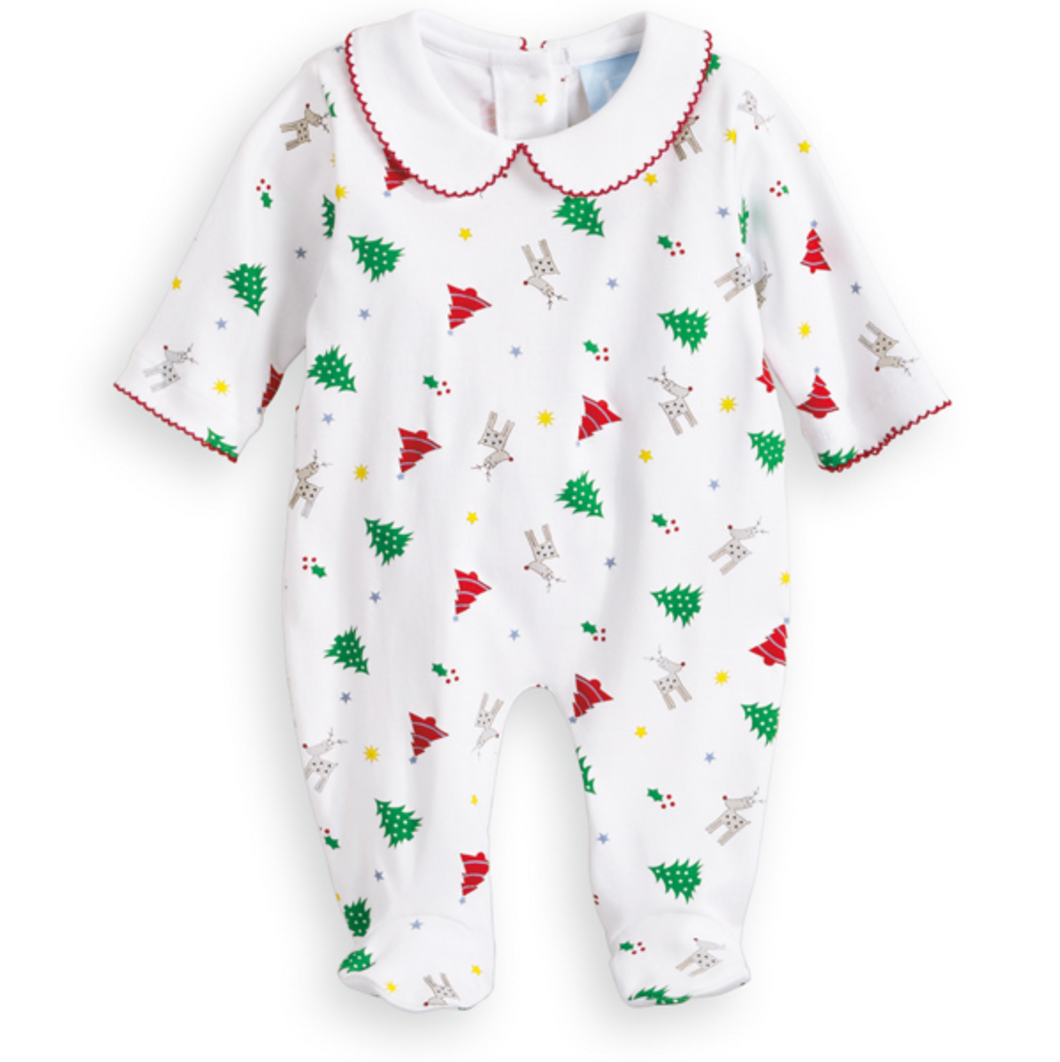 Collared Printed Footie Holiday