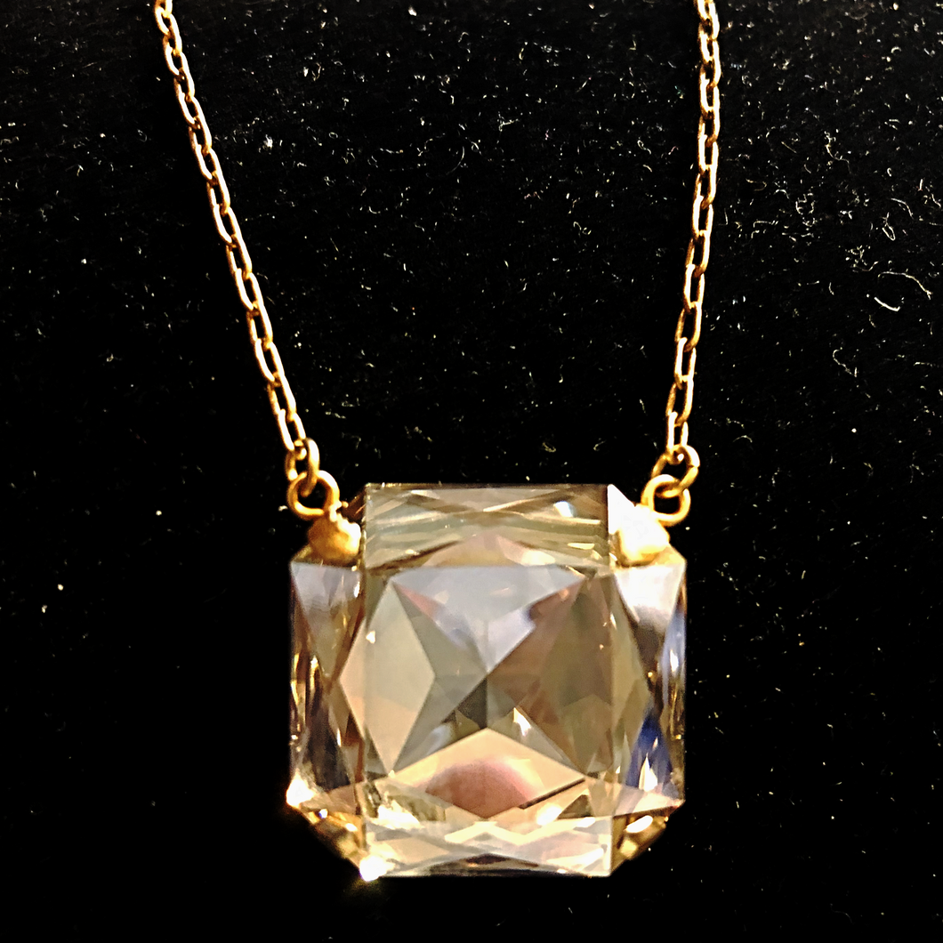 Large Square Crystal Necklace