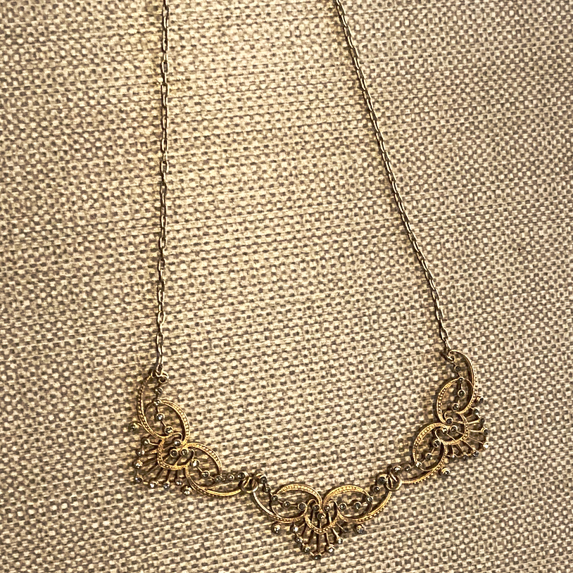 Delicate Gold Studded Design Necklace