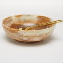 Marble Bowl with Gold Spoon