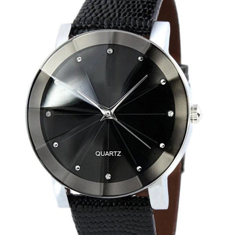 Quartz Sport Military Stainless Steel Dial Leather Band Wrist Watch