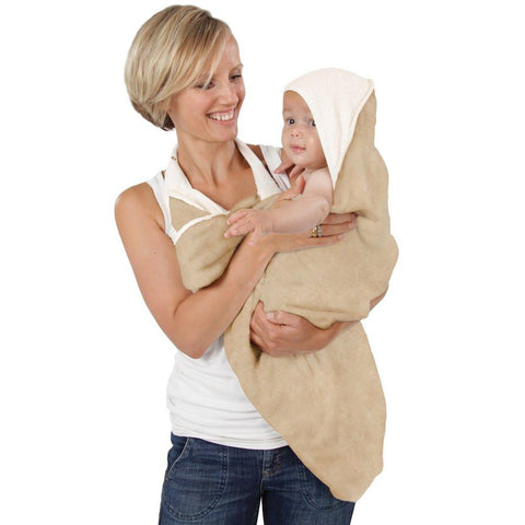 Cuddledry Apron Bath Towel (Oatmeal) brown/cream  baby towel Cuddledry green child of mine