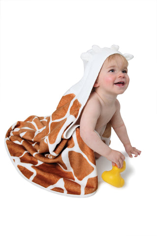 cuddledry baby towel in giraffe print