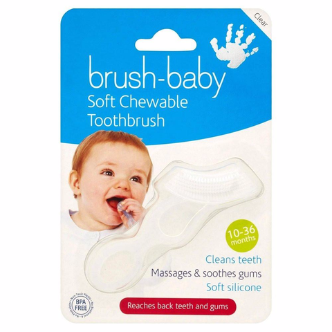 Brush-Baby Chewable Toothbrush (Clear) White  Babys Toothbrush Brush-Baby green child of mine