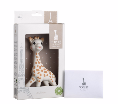 sophie the giraffe in gift box and showing certificate