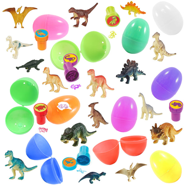 12 prefilled easter eggs with dinosaur toys assorted colors