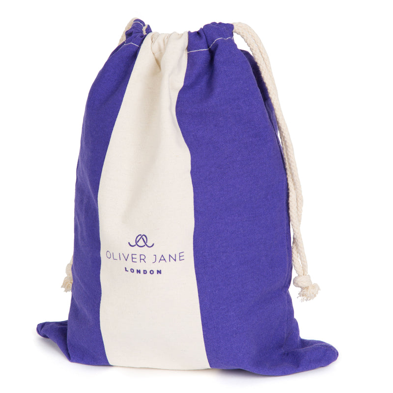 Cotton Drawstring Beach Bag Blue & White