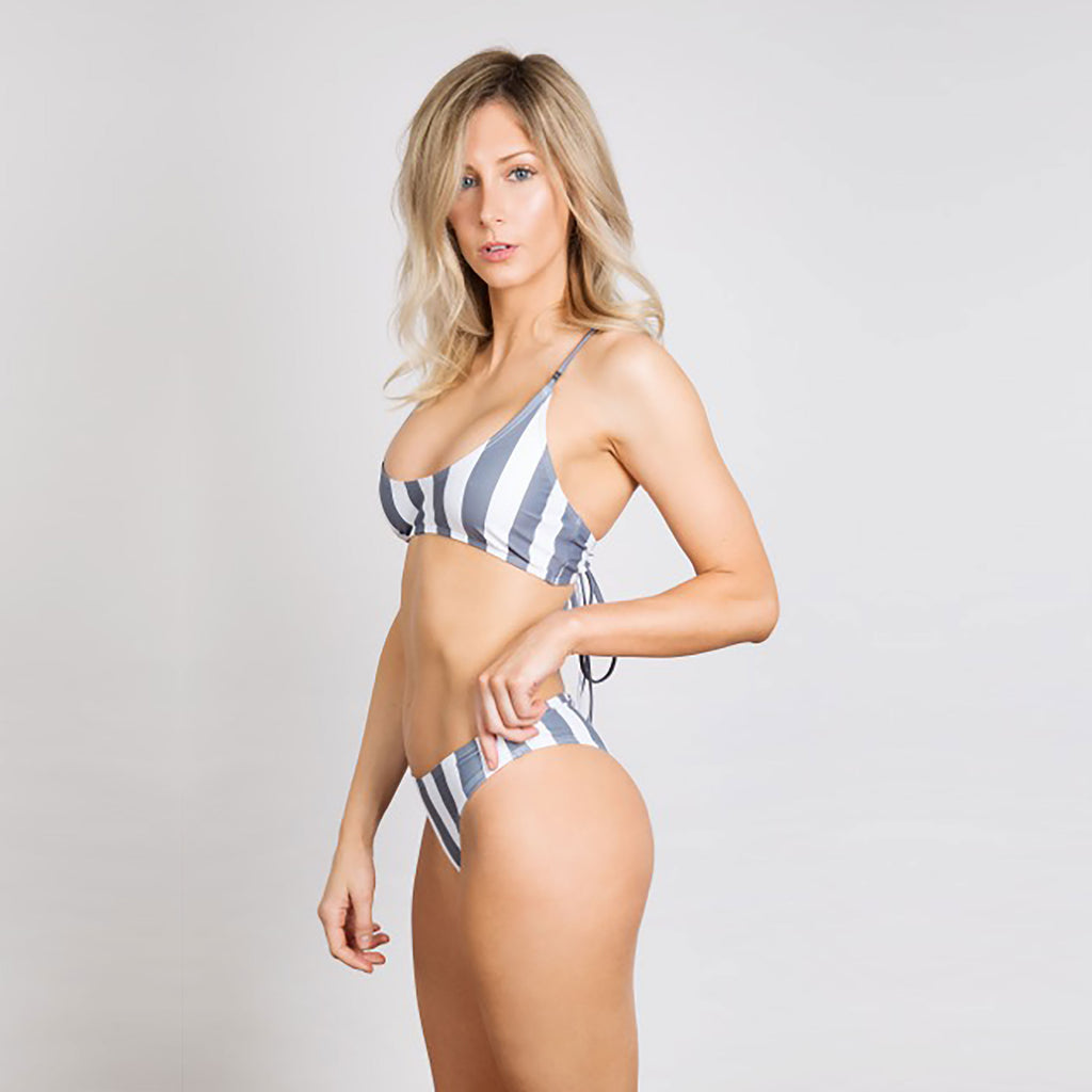 Oliver Jane Ladies Bikini Bottom Fullerton Striped Charcoal Grey