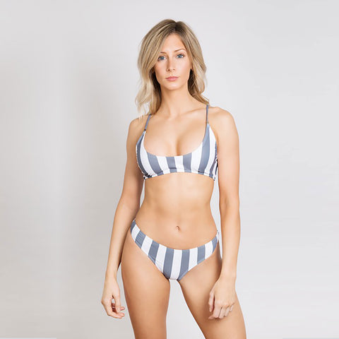 Oliver Jane Ladies Bikini Top Fullerton Striped Charcoal Grey
