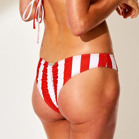 Fullerton Stripe - Bikini Bottom (Red Stripe)
