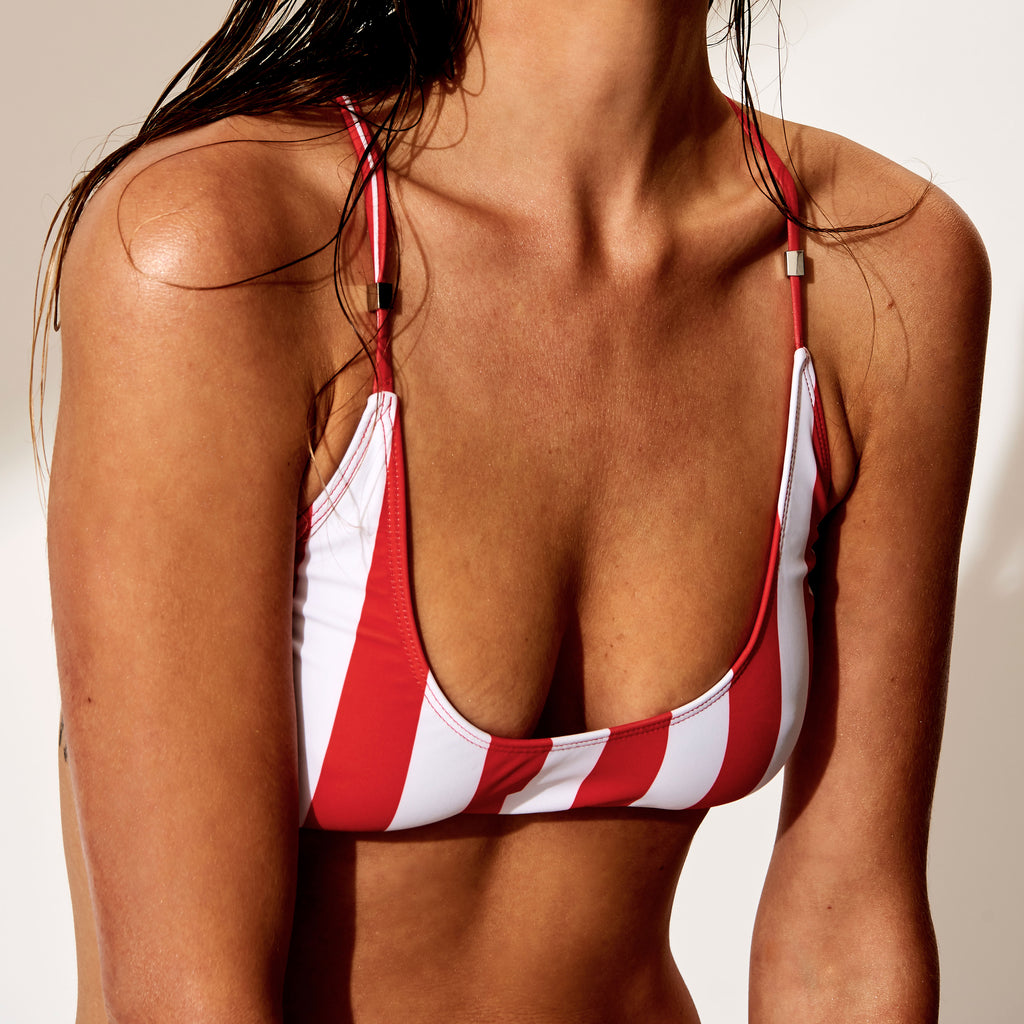 Fullerton Stripe - Bikini Top (Red Stripe)