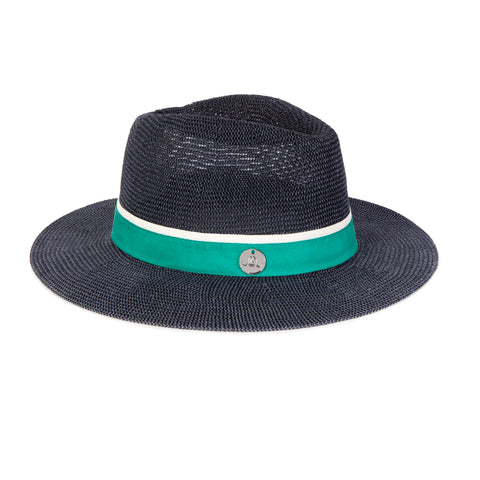 Oliver Jane Navy & Green Panama Hat