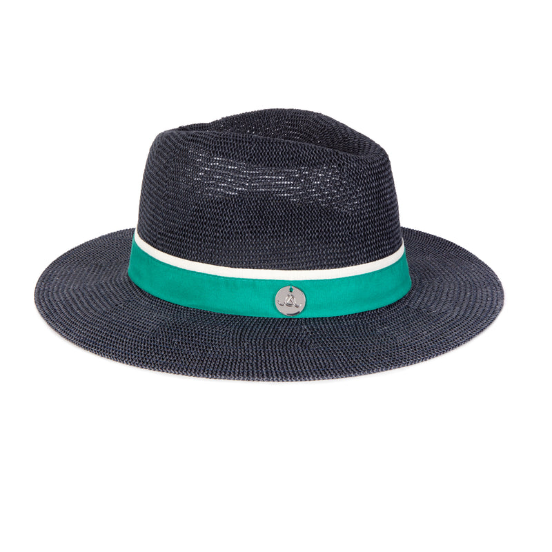 Navy & Green Panama Hat