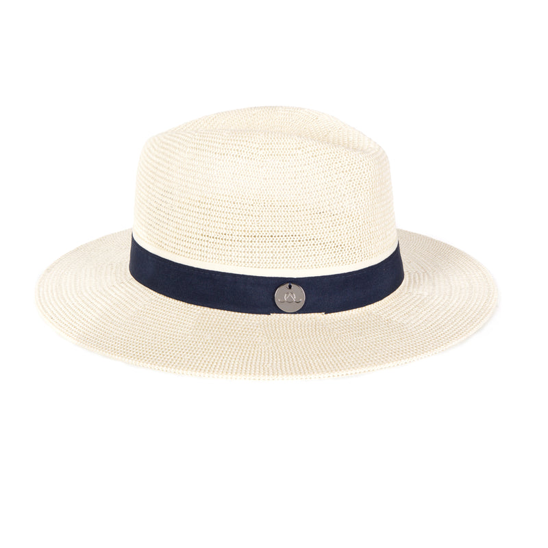 Cream & Navy Panama Hat