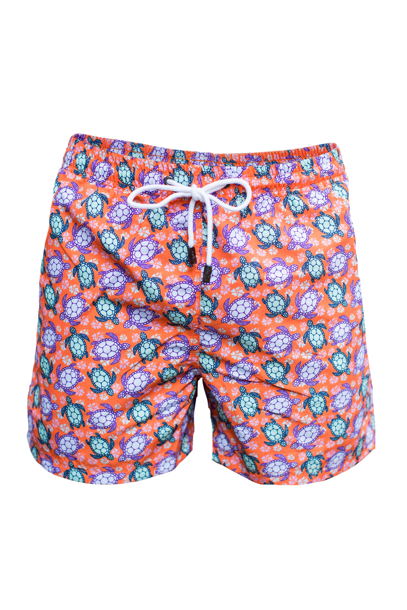 The Beach Turtle Orange Swim Short