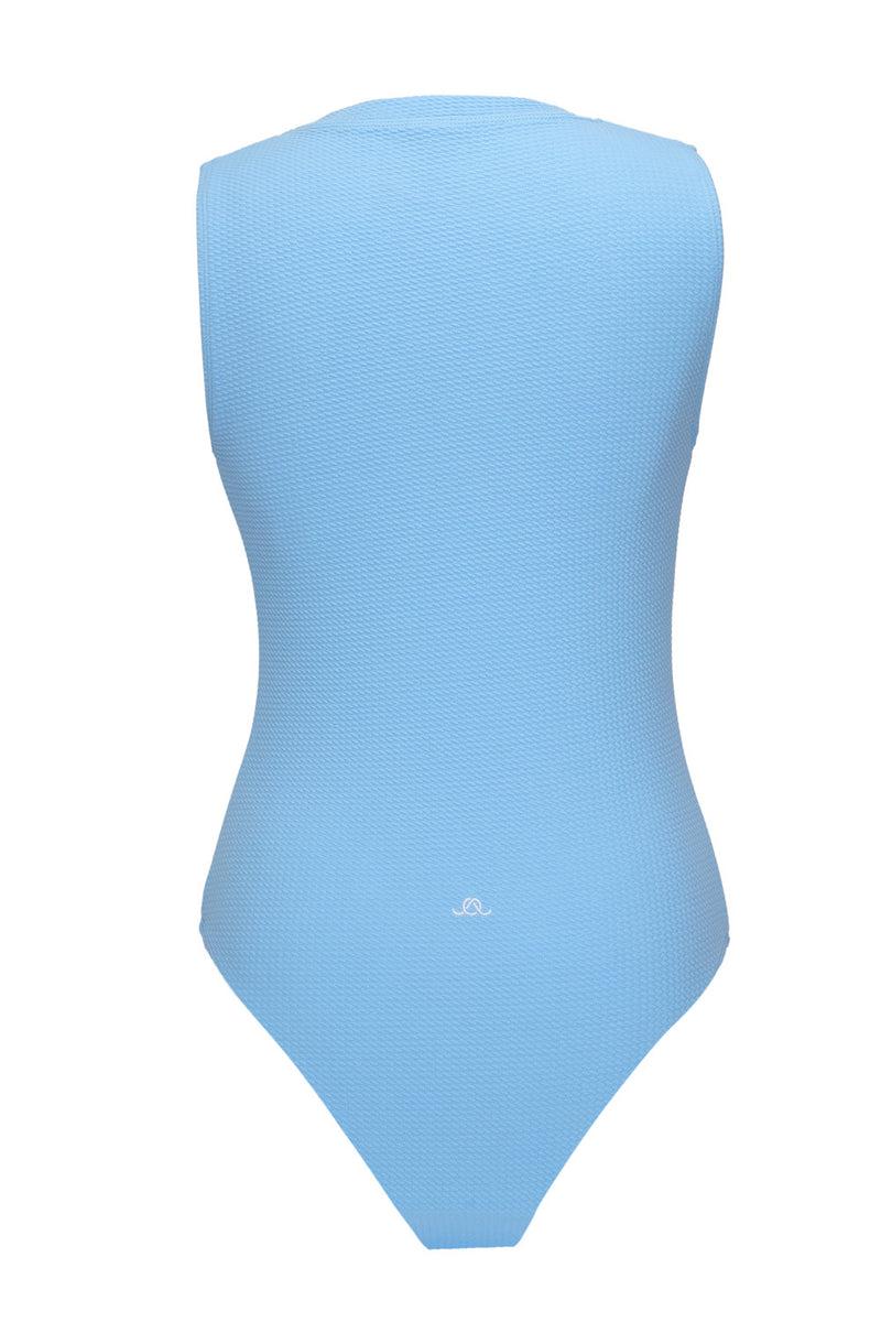 The Sky Blue Poppy Waffle One-Piece