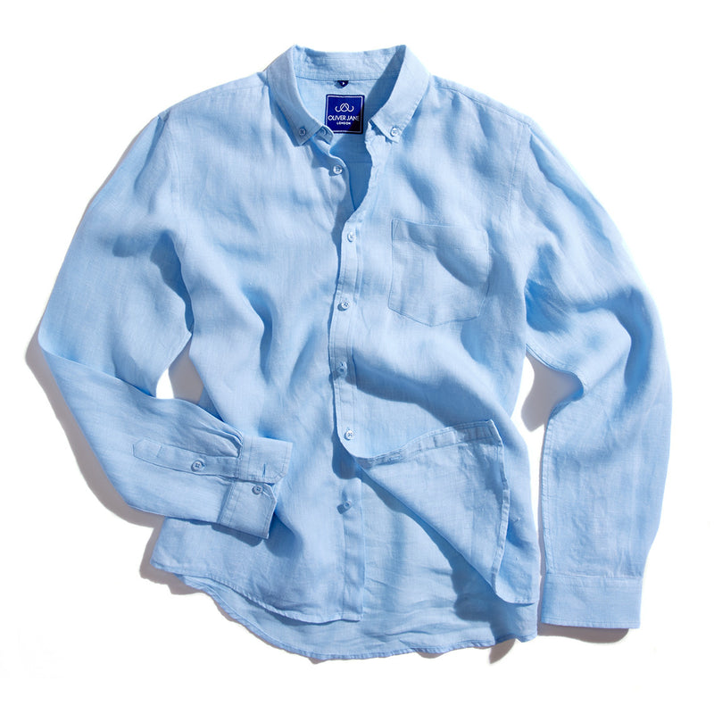 Linen Beach Shirt - Blue - Oliver Jane London